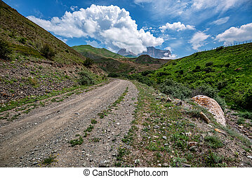 estate, montagne, pittoresco, paesaggio, strada stretta