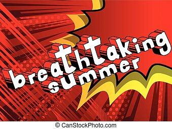 estate, mozzafiato, word., -, stile, libro, comico