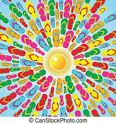 estate, multicolor, flops, buffetto, schizzo