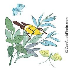 estate, natura, -, vettore, ramo, piccolo, uccello