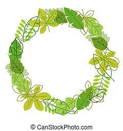 estate, naturale, primavera, cornice, leaves., stilizzato, fogliame verde, o