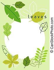estate, naturale, primavera, leaves., stilizzato, fogliame verde, o, scheda