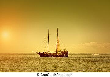 estate, nave, pirata, o, crepuscolo