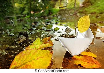 estate, navigazione, autunno, barca carta, origami, seasons., cambiamento