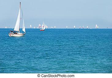 estate, navigazione, giorno, barca