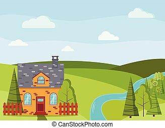 estate, nubi, campi, fattoria, primavera, albero, scena, casa, cartone animato, fiume, verde, paese, mattone, o, paesaggio, abeti rossi