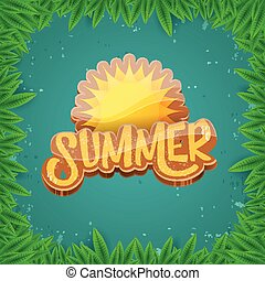 estate, o, arte, syle, manifesto, spiaggia, fogliame, fondo, etichetta, carta, vettore, disegno, aviatore, festa, verde, bandiera, template.