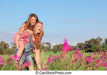 estate, o, primavera, adolescenti, indietro, piggy, adolescenti, sorridere felice