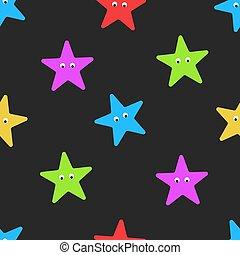estate, occhi, bambini, stella, starfish, colorito, mockup, modello, involucro, seamless, ornanent, scuro, fondo., forma, mare, cartone animato, o, stoffa