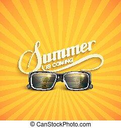 estate, occhiali da sole, retro, etichetta