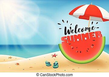 estate, ombrello, iscrizione, benvenuto, anguria affettata,...