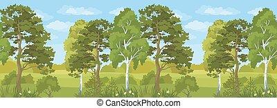 estate, orizzontale, paesaggio, seamless, foresta