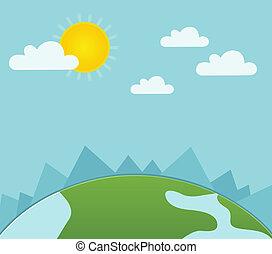 estate, paesaggio, con, erba