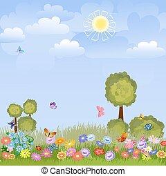 estate, paesaggio, con, fiori