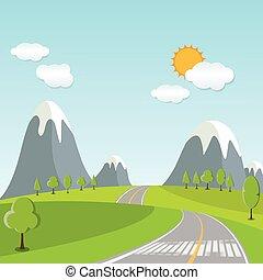 estate, paesaggio, primavera, cartone animato, traccia, segno, scia, verso, orizzonte, condurre, o, strada