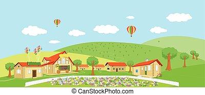 estate, paese, illustrazione, vettore, villages., paesaggio