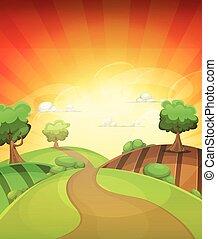 estate, paese, o, tramonto, fondo, primavera, cartone animato