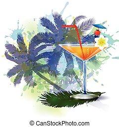 estate, palma, fondo, albero, succo
