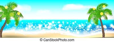 estate, palma, paesaggio, spiaggia, tempo
