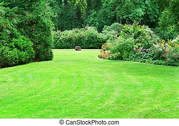 estate, parco, con, bello, verde, prati