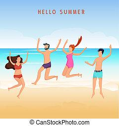 estate, parco gioco, cartone animato, persone