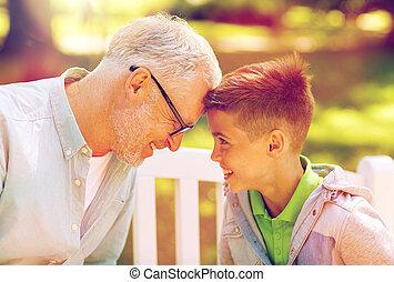 estate, parco, nipote, nonno