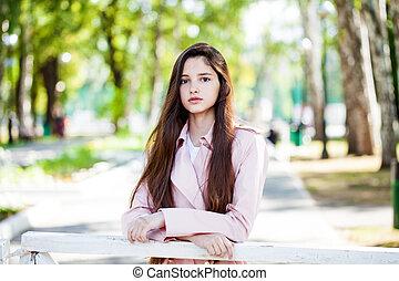 estate, parco, ragazza, fondo, brunetta, primo piano