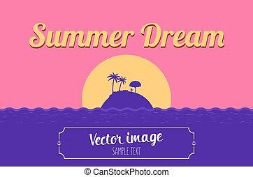 estate, parole, isola, tropicale, fondo, spiaggia, sogno, mare