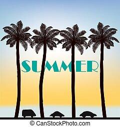 estate, pendenza, foglie, albero, tropicale, palma, fondo, paradiso, tramonto