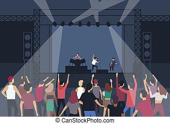 estate, persone, indietro, fronte, banda, vista., aperto, gruppo, ballo, ventilatori, musica, appartamento, festival., musicisti, cantanti, musicale, cartone animato, palcoscenico, illustration., compiendo, aria, grande, pubblico, vettore, o