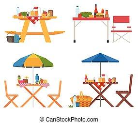 estate, picnic, collezione, tavoli