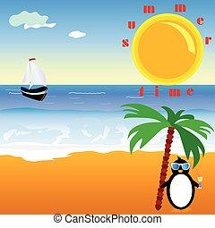 estate, pinguino, vettore, illustrazione, tempo