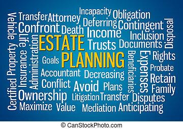 Estate Planning word cloud on blue background