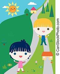 estate, poco, bambini, felice, campeggiare