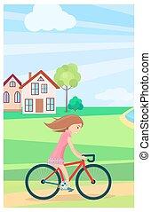 estate, poco, fuori, bicicletta, tempo, sentiero per cavalcate, ragazza
