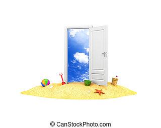 estate, porta, sand., illustrazione, holidays., 3d