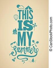 estate, poster., retro, tempo