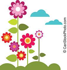 estate, prato, con, fiori, e, nubi