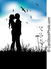 estate, prato, silhouette, coppia, nero, baciare