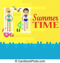 estate, prendere il sole, due, salotto, time., vettore, chair., spiaggia, donne