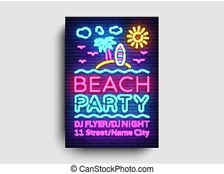 estate, pubblicità, bandiera, tendenza, manifesto, moderno, neon, illustrazione, template., typography., luminoso, vettore, disegno, scheda, invito, luce, festa, spiaggia, disegno, festa, stile