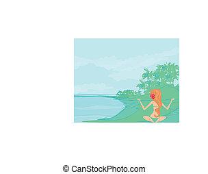 estate, ragazza, atteggiarsi, yoga