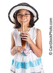 estate, ragazza, cappello, giovane