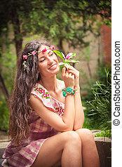 estate, ragazza, giardino