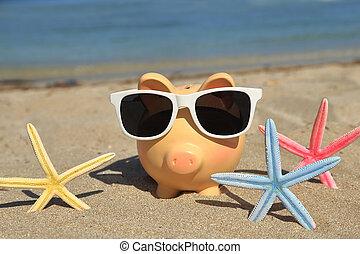 estate, sabbia, occhiali da sole, banca piggy