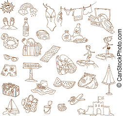 estate, scarabocchiare, -, collezione, mano, vettore, disegnato, vacanza