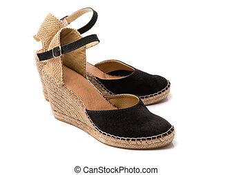 estate, scarpe, nero, beige, paio, pelle scamosciata