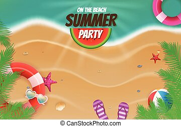 estate, scena, fondo, festa, spiaggia, topview