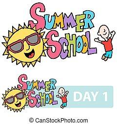 estate, scuola, figlio, e, studente, messaggio