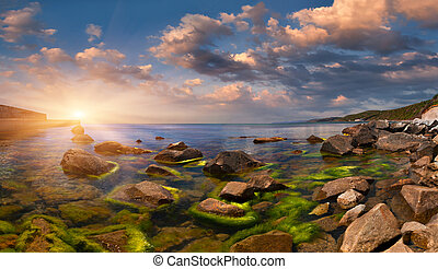 estate, seascape., alba